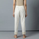 Tapered 'Katan Silk' Gota Work Ivory Pant with elasticated back