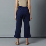 Back elasticated Straight Pants - Plain Navy