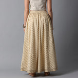 Gold Print Kalidar Icecream Yellow Skirt with Gota Hem