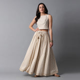 Gold Print Kalidar Ivory Skirt with Gota Hem