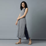 Navy Stripes Embro Kurta and Plain Pants Set