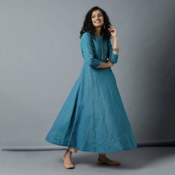 Semi-Bias Ghera Mangalgiri Zari Checks Kurta & Gota Pants Set