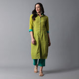 Front Open Straight Shirt Kurta and Pant Set