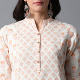 Handblock Printed Front Pockets Kurta and Pants Set
