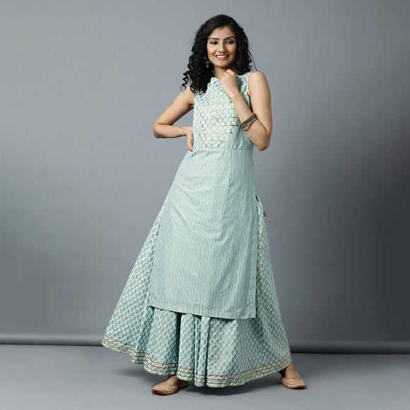 Gota Cut & Sew Bodice Gold Print Talc Blue Kurta & Skirt Set