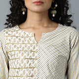 V-notch Neck Semi-Bias Ghera Gold Printed Gota detail Kurta