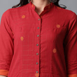 Front Open Straight Band Collar Mangalgiri Zari Checks Kurta and Pants Set