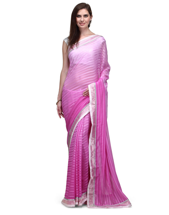 Silk Tussar Border Pink Ombre Chiffon Saree - Indian Dobby