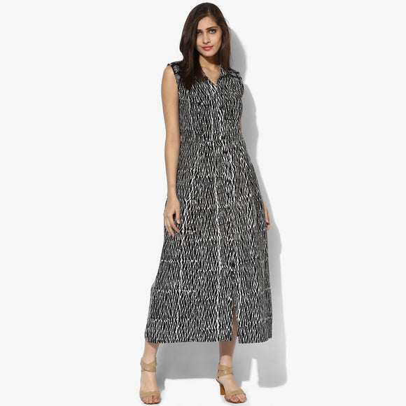 Sleeveless Dabu Maxi Dress - Indian Dobby