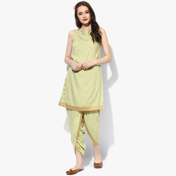 Sleeveless Side Panel Gold & Tonal Print Rayon Tunic - Indian Dobby