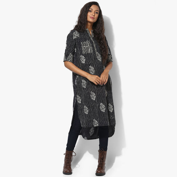 Band Collar High Low Zari Tagai Dabu Kurta - Indian Dobby