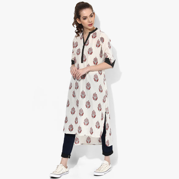 Band Collar High Low Zari Tagai Bagru Kurta - Indian Dobby