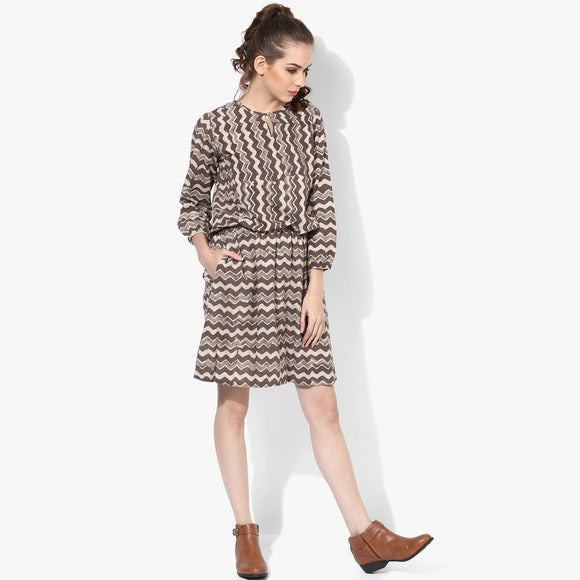 3/4th Sleeve Blouson Dabu Dress - Indian Dobby