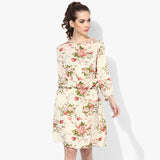 3/4th Sleeve Vintage Floral Rayon Crepe Blouson Dress - Indian Dobby
