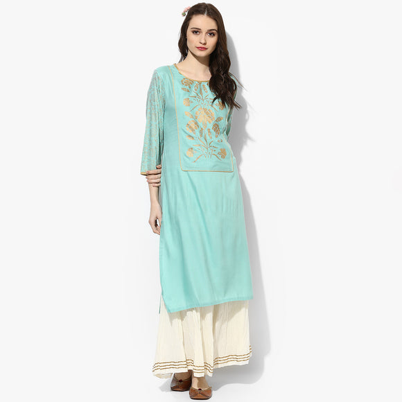 Gold Print Yoke Long Straight Rayon Kurta - Indian Dobby