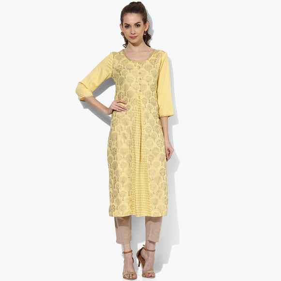 Gold Print Rayon 3/4th Slv Front Gusset Kurta - Indian Dobby