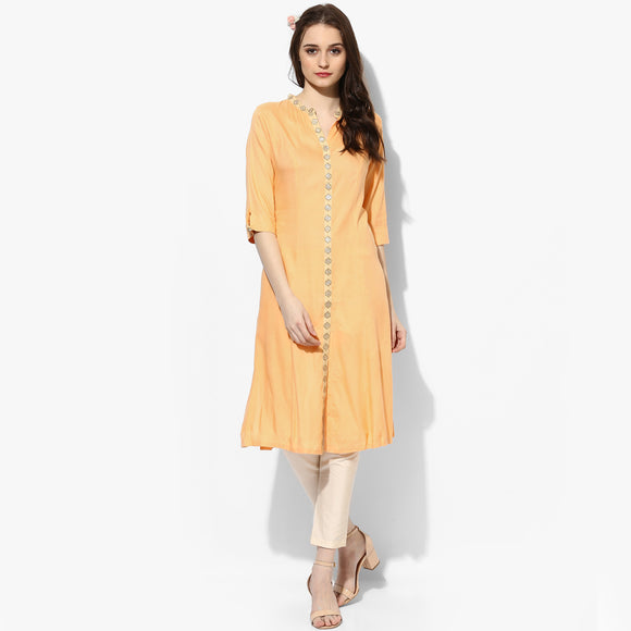 Embroidered Lace Rayon Kurta - Indian Dobby
