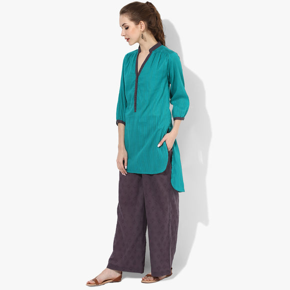 3/4th Sleeve Cotton Dobby High-Low Tunic - Indian Dobby