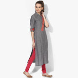 Slant Placket Mangalgiri Kurta - Indian Dobby