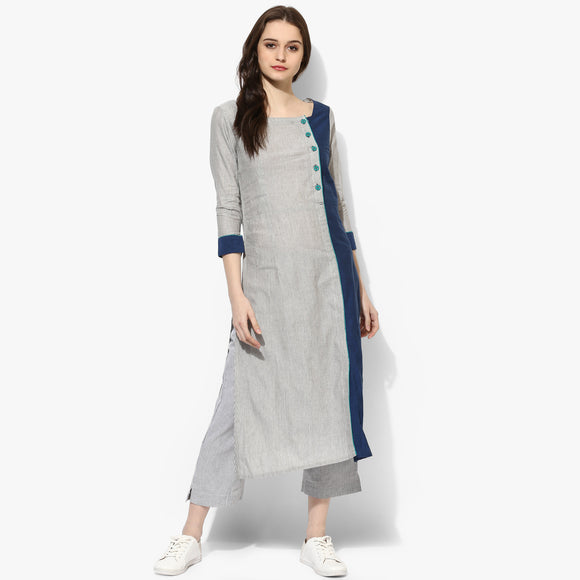 Square Neck Mangalgiri Striper Kurta - Indian Dobby