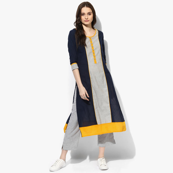Mangalgiri Striper Centre Panel Kurta - Indian Dobby
