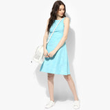 Sleeveless Khadi Skater Dress - Indian Dobby