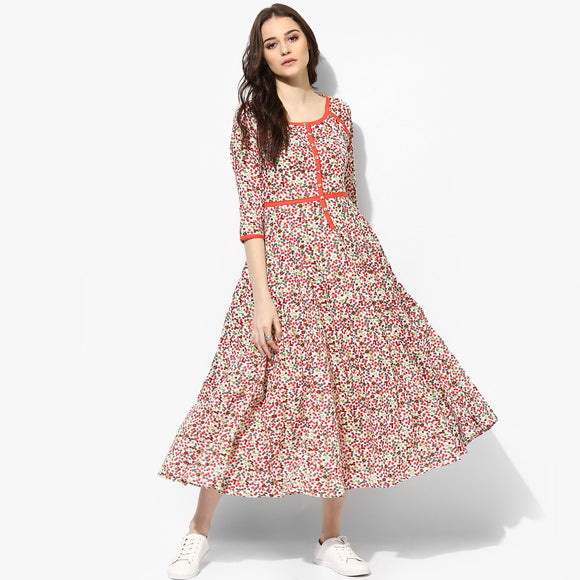 Kalidar Cotton Floral Print Maxi Dress - Indian Dobby