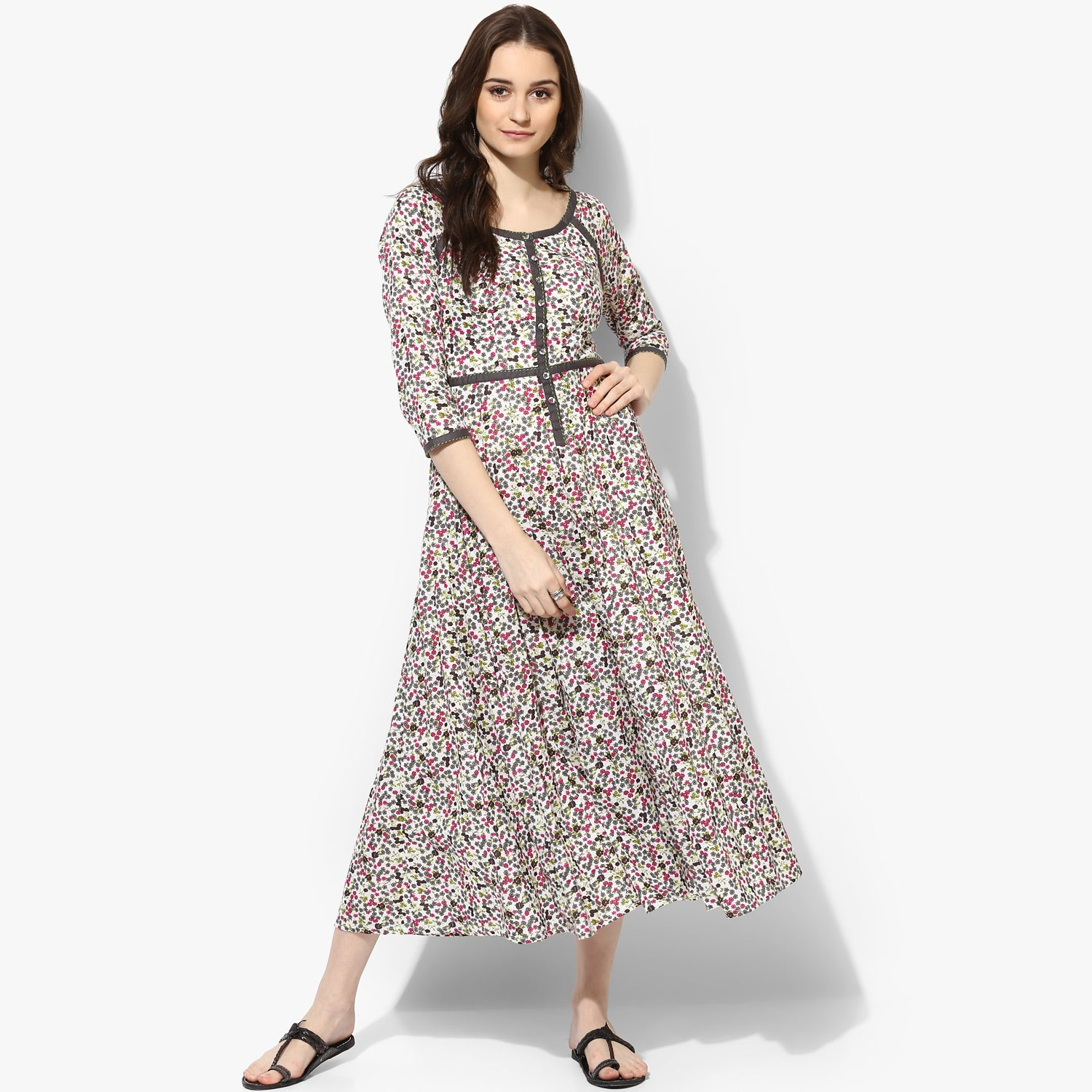 9f8c4925ec6 ... Kalidar Cotton Floral Print Maxi Dress - Indian Dobby ...