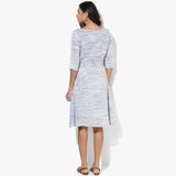 Flared Belted Khadi Dress - Indian Dobby