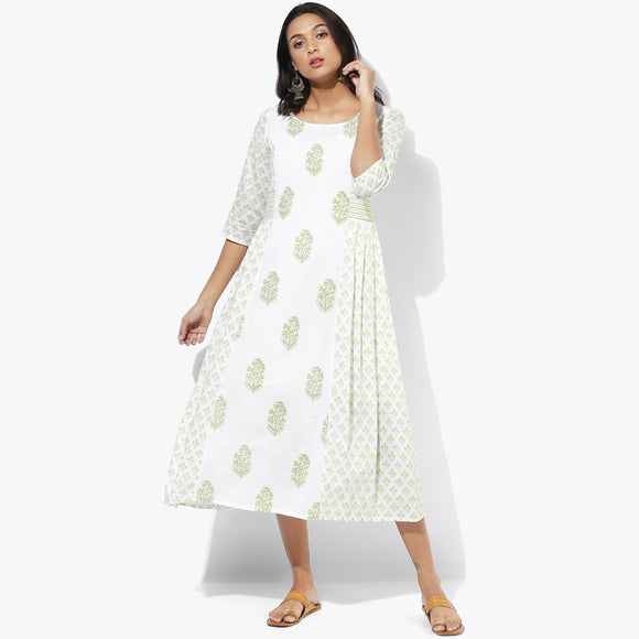 Knife Pleats Handblock Print Maxi Dress - Indian Dobby