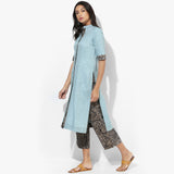 Front Open Straight Band Collar Khadi Kurta - Indian Dobby