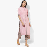 Front Open Cotton Kurta with Kalamkari Pants