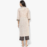 Shawl Collar Mock Overlap Straight Khadi Kurta - Indian Dobby