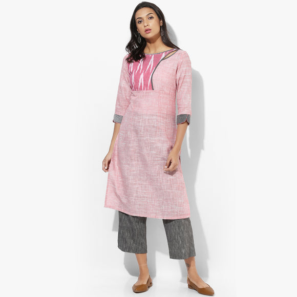 Shoulder Eyelet Khadi Straight Kurta - Indian Dobby