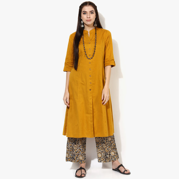 Band Collar Princess Seam Flex Kurta with Pockets - Indian Dobby