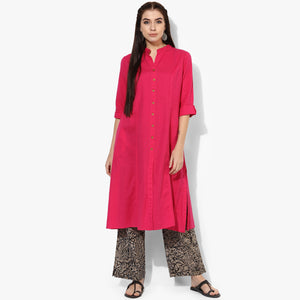 Band Collar A-line Plain Kurta with Kalamkari Pants