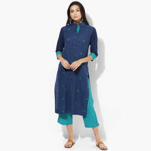 Front Open Straight Mangalgiri Dobby Kurta - Indian Dobby