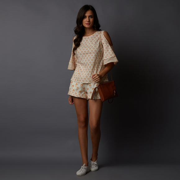 Handblock Printed Cold-Shoulder Top & Shorts Set