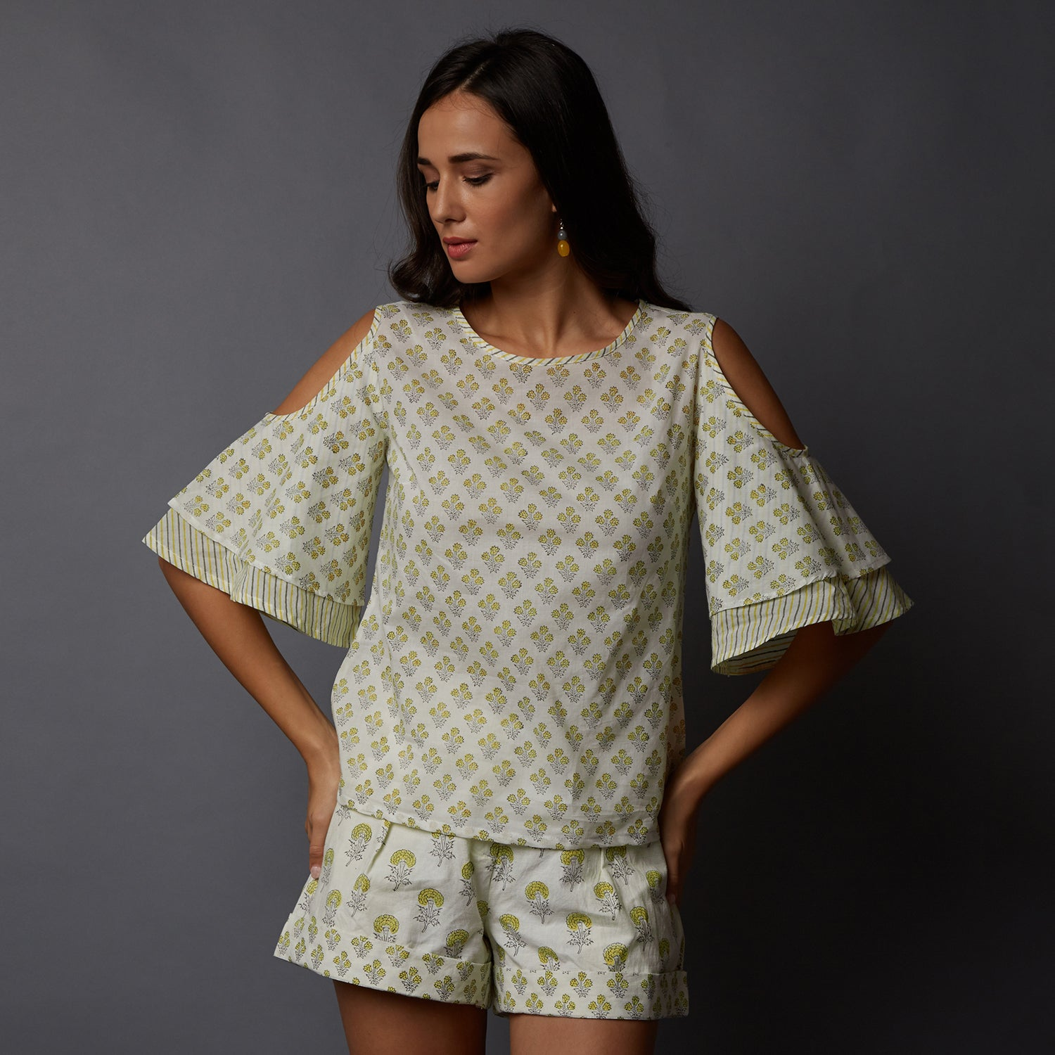 86f36245173583 ... Handblock Printed Cold-Shoulder Top   Shorts ...