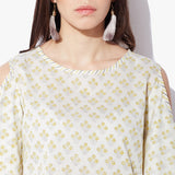 HandBlock Printed Cold Shoulder Top
