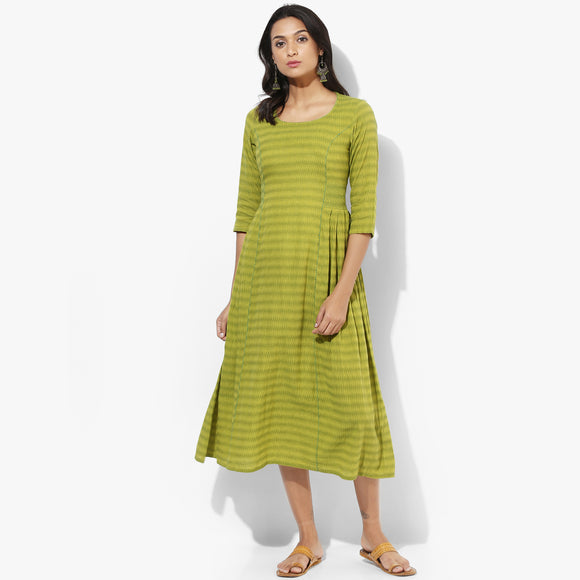 Knife Pleats Mangalgiri Dobby Maxi Dress - Indian Dobby