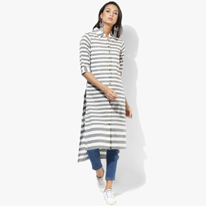 Shirt Collar High-Low Mangalgiri Striper Kurta - Indian Dobby