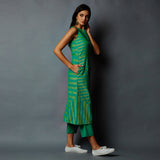 Sleeveless Striper Single Slit Kurta