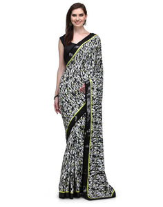 Sequins Border Animal Print Crepe Saree - Indian Dobby