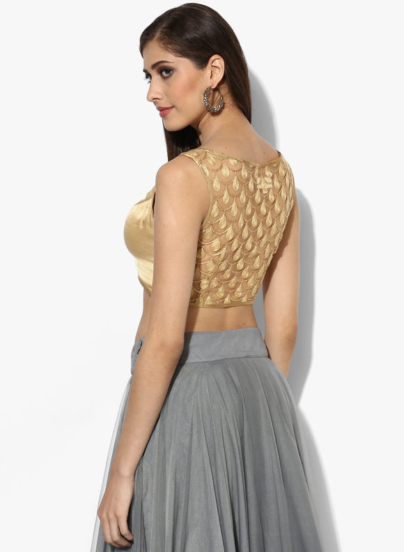 Embroidered Backless Blouse - Indian Dobby