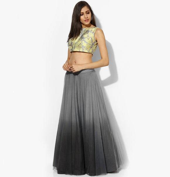 Grey Ombre Net Skirt - Indian Dobby