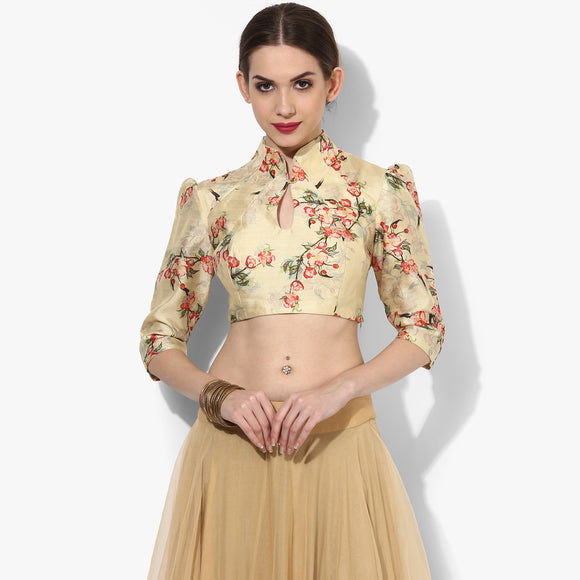 Chinese Collar Vintage Floral Blouse - Indian Dobby