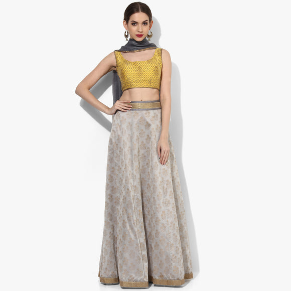 Handblock Printed Steel Grey Pure Chanderi Skirt Lehenga - Indian Dobby