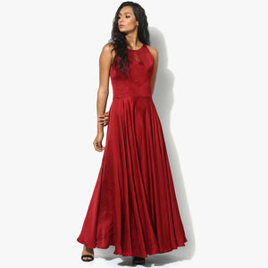 Chantilly Lace Insert Modal Satin Long Dress - Indian Dobby