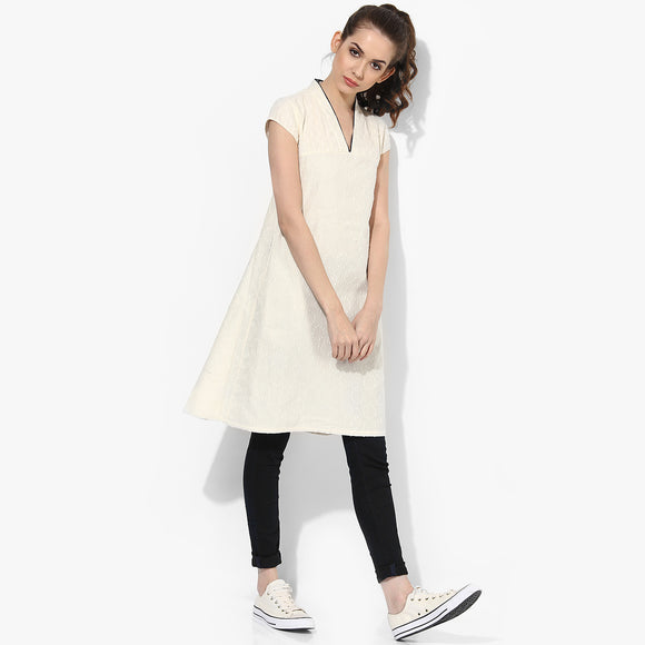 Band Collar V-neck Mega Sleeves Front pockets Cotton Dobby Dress - Indian Dobby